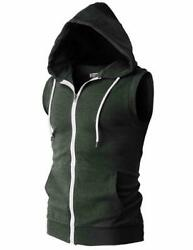 H2h Mens Casual Slim Fit Sleeveless Lightweight Zip-up Hooded Vest With Zipper T