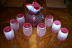 Fenton Cranberry Hobnail Opalescent Ice Lip Pitcher And 8 Eight Barrel Tumblers