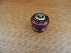 25 Cherry Finished Round Wood W/ins Door/drawer Knobs Furniture/cabinet Hardware