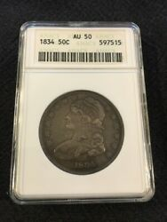 1834 Bust Half Dollar Anacs Au-50 - About Uncirculated - Certified Slab - 50c