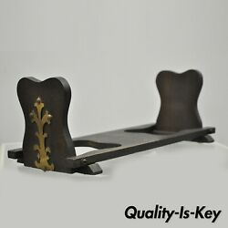 Antique Mission Oak And Brass Arts And Crafts Folding Bookends Book Holder Stand