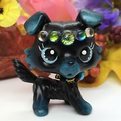 Mini Toy Pet Shop Black Collie OOAK Custom Hand Painted Adorable