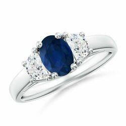 3 Stone Oval Blue Sapphire And Half Moon Diamond Ring In Silver/gold/platinum