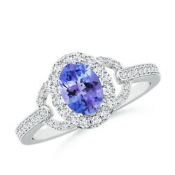 1.17ctw Vintage Style Oval Tanzanite Halo Ring In 14k Gold/platinum