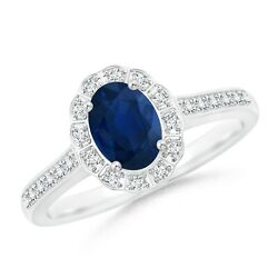 Vintage Style Sapphire And Diamond Scalloped Halo Ring In 14k Gold/platinum