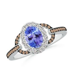 Vintage Style Tanzanite Halo Ring With Coffee And White Diamond In Gold/platinum