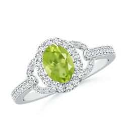 1.22cttw Vintage-style Oval Peridot Halo Ring In 14k Gold/platinum Size 3-13