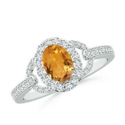 1.12ctw Vintage Style Oval Citrine Halo Ring In 14k Gold/platinum