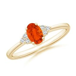 Solitaire Oval Fire Opal Ring With Trio Diamond Accents In Silver/gold/platinum