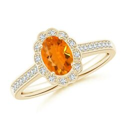 Vintage Style Fire Opal And Diamond Scalloped Halo Ring In 14k Gold/platinum