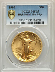 RARE Key 1907 High Relief Flat Edge PCGS MS65 $20 St Gaudens Gold Double Eagle!