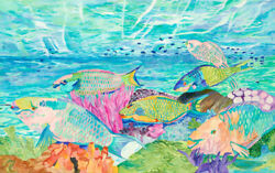Eileen Seitz Tropical Original Unframed Watercolor Keepers Of The Reef