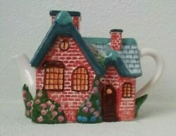 Vintage 2005 Thomas Kinkade Teapot Red Brick Cottage With Removable Chimney