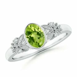 Vintage-style Natural Oval Peridot Ring With Diamonds In 14k Gold/platinum