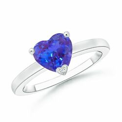 1.26ctw Solitaire Heart Shaped Tanzanite Promise Ring In Silver/gold/platinum