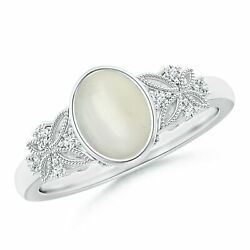 1.2ctw Vintage Style Oval Moonstone Ring With Diamonds In 14k Gold