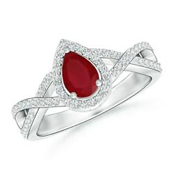 0.7ctw Twist Shank Pear Ruby Ring With Diamond Halo In 14k Gold/platinum