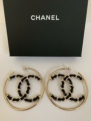 NWT Chanel XL CC Logo Black Chain Gold Tone Round Hoop Statement Earrings w Box