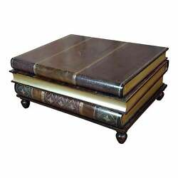 Maitland-smith Stacked Leather Books Form - Coffee Table