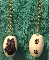 One Scottish Terrier Dog Fan Pull With Paw Prints On The Back 1