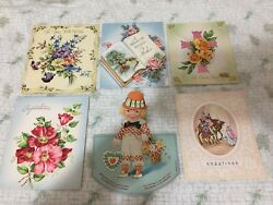 Lot Of 6 Greeting Cards Vintage Antique Valentines Christmas Easter Birthday