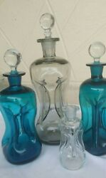 Lot Of 4 Holmegaard Kluk Kluk Art Glass Pinched Decanters Smoke Blue Clear