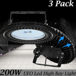 3X 200W UFO LED High Bay Lights Super Bright Factory Warehouse Church Lighting