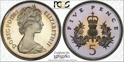 1983 Great Britain 5 Pence Pcgs Pr67dcam Beautiful Toned Pop 5 Only 2 Higher