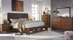 Modern Design Brown Finish Bedroom Furniture - 5pcs Queen Storage Bed Set IA0A