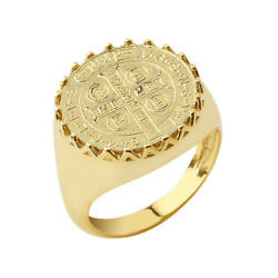Solid Gold St.benedict Statement Ring In 14k Yellow/rose/white
