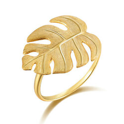 Handmade Monstera Leaves Solid 925 Sterling Silver Ring 18k Gold Women Jewelry $14.45