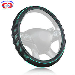 1x 15 Inch 38mm Car Steering Wheel Cover Odorless Soft Pu Leather Black And Green