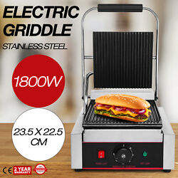 Commercial Electric Contact Press Grill Griddle 110V Panini Grill Non-stick