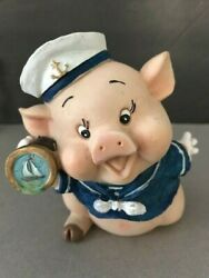 Vintage Sailor Pig Chalkware Piggy Bank With Hand Painted Telescope