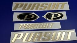 Pursuit Boat Emblem 13 Gold + Free Fast Delivery Dhl Express - Stickers Decal
