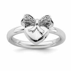 Stackable Expressions Sterling Silver Heart Bow Diamond Ring Msrp139