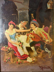 The Ardent Mooer Frederico Andreotti Original Antique Signed Oil Wood Painting