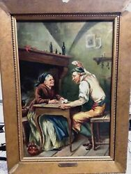 Albert Raudnitz Older Couple Playing Cards Original Oil Painting On Canvas.
