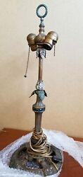 Vintage Brass Ornate Heavy French Style Dual Articulating Socket Lamp