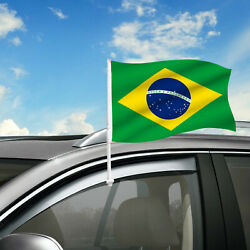 Brazil Car Flag, 18 X 12 Country Car Window Clip On Flag, Graphic+hardware
