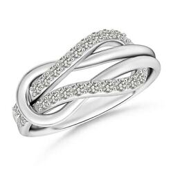 0.22ctw Encrusted Diamond Infinity Love Knot Ring In 14k Gold/platinum