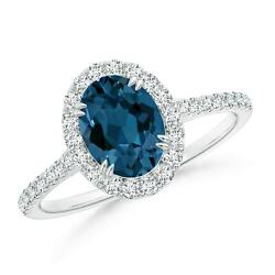 Double Claw-set London Blue Topaz Halo Ring With Diamonds In Gold/platinum