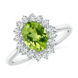 1.75cttw Oval Peridot Ring With Floral Diamond Halo In 14k Gold/platinum