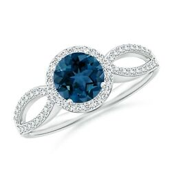Vintage Style London Blue Topaz Split Shank Ring With Halo In Gold/platinum