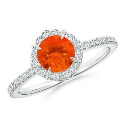 0.83ctw Vintage Style Claw-set Round Fire Opal Halo Ring In 14k Gold/platinum