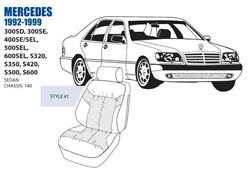 Mercedes S Class Front Leather Seat Cover Set 1992-99 Oem New