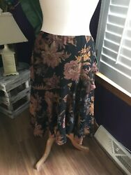 Womenandrsquos Size 10 Midi Skirt W/ Ruffled Layer Look Floral Pattern Nwt