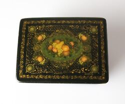 Vintage Russian Lacquer Box, Mstyora Мстёра Region Hand Painted Fruit, Signed