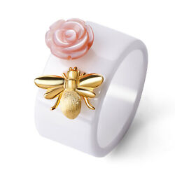 Bee kiss Rose Ceramic Wide Ring Solid 925 Sterling Silver for Women Size 6 7 8 9 $16.49