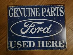 Vintage Ford Genuine Parts Used Here Car Automobile Repair Tool Shop Decor Sign